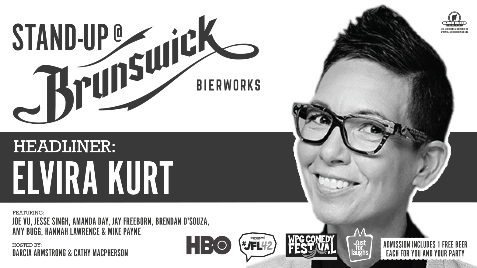 Elvira Kurt Headlines Black Sheep Comedy's Stand Up @ Brunswick Bierworks