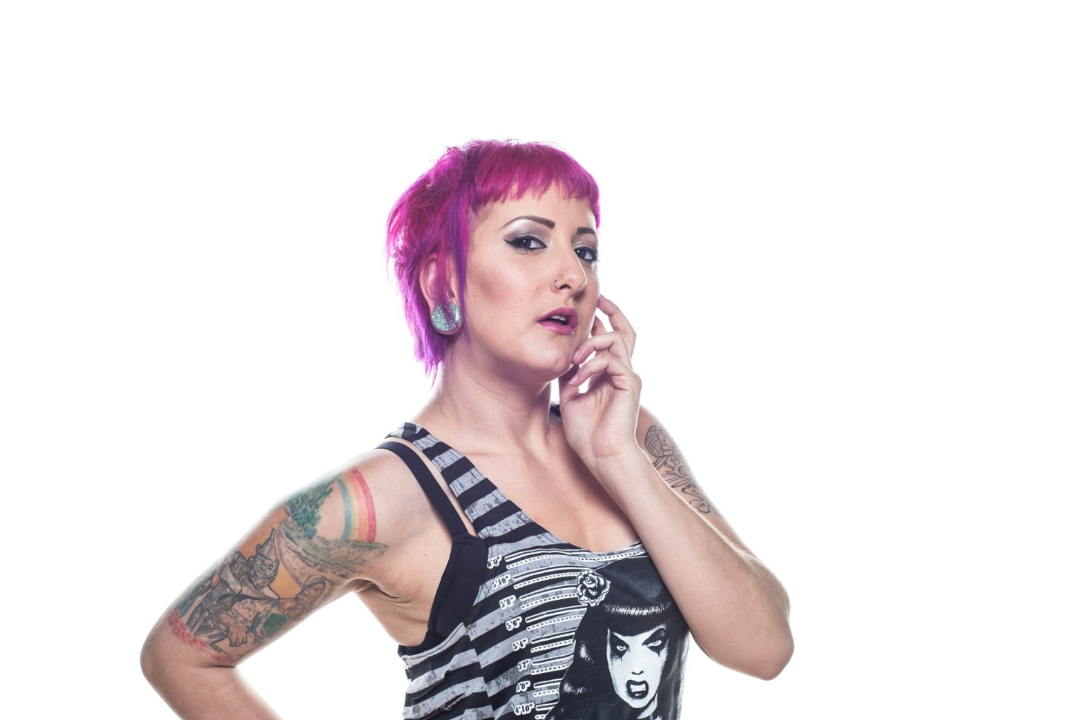 cool tattoed woman headshot by Jenn Grachow JnK Imagery