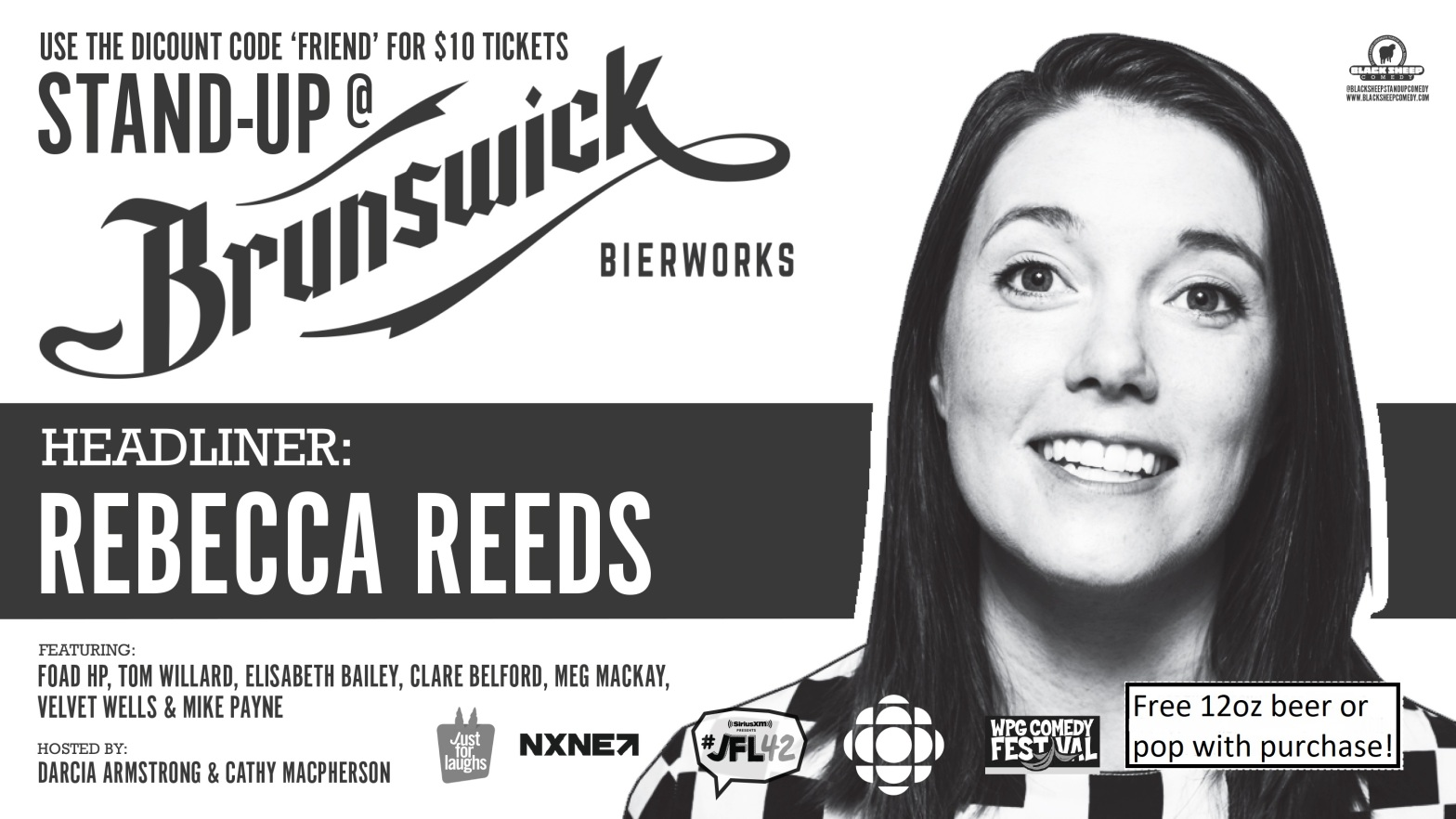 Black Sheep Comedy @ Brunswick Bierworks with Rebecca Reeds, East York