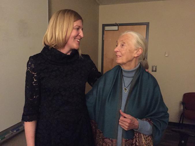 Sarah Boston with Jane Goodall
