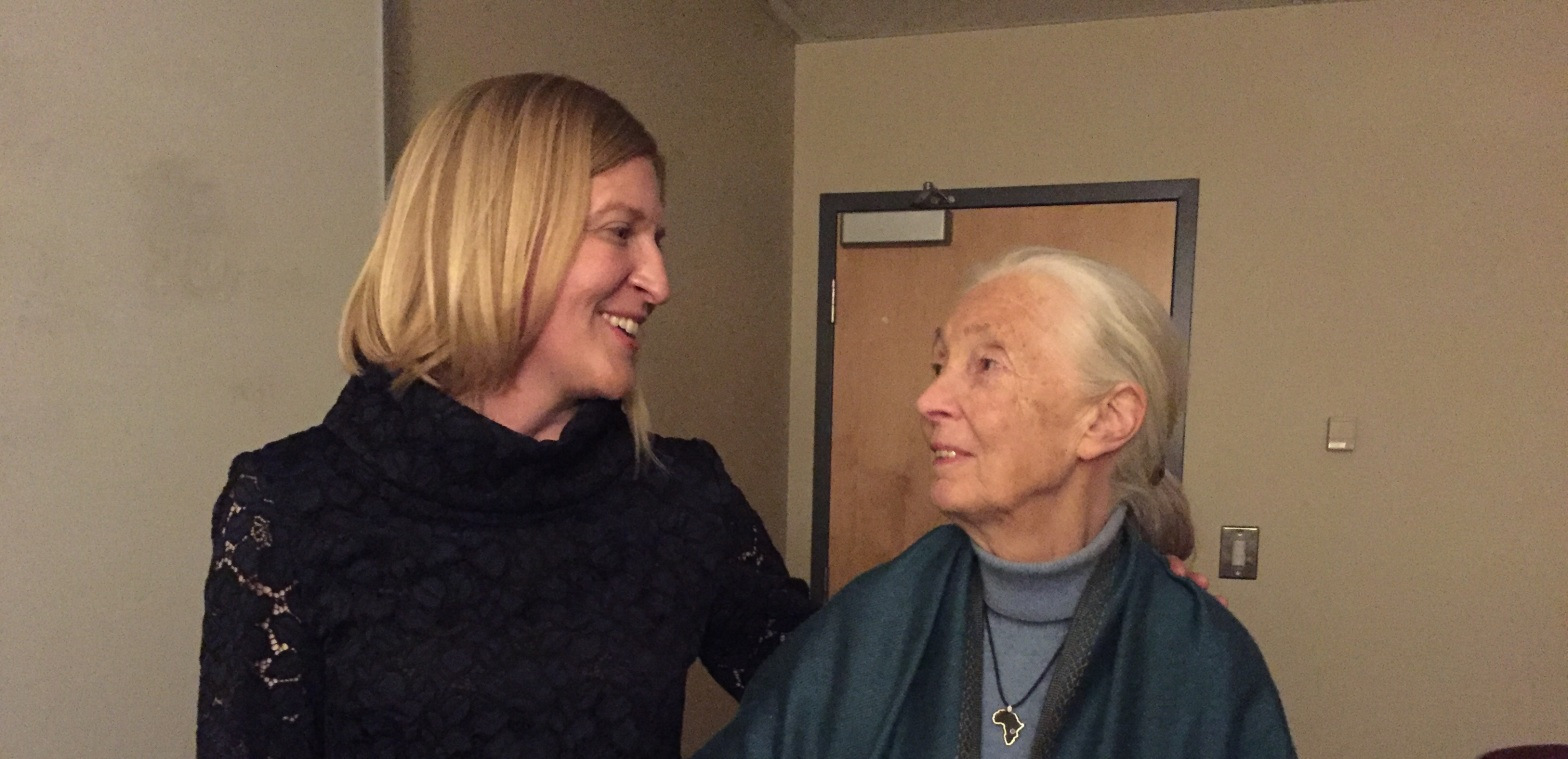Comedian Sarah Boston with Jane Goodall
