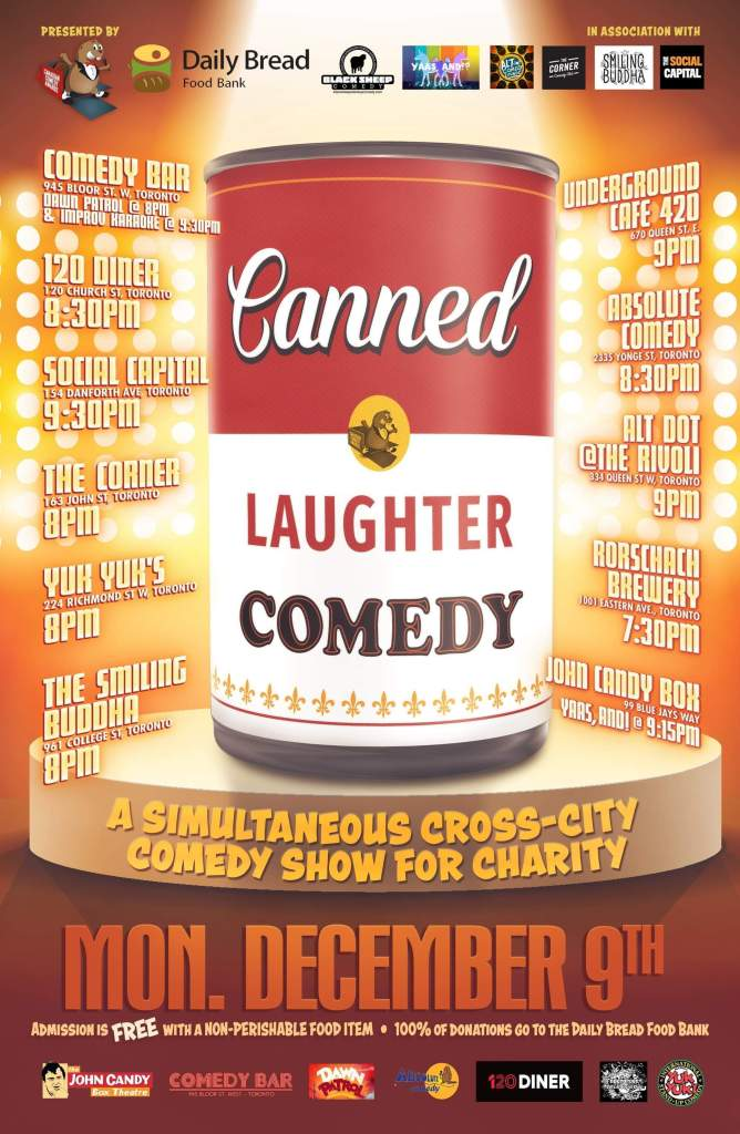 Black Sheep Comedy Canned Laughter Stand Up Comedy in Support of Daily Bread Food Bank